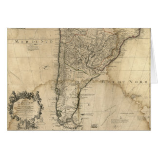 Map of Paraguay & Chili, South America (1718) Card