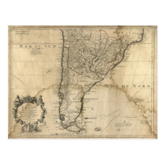 Map of Paraguay & Chili, South America (1718) Postcard