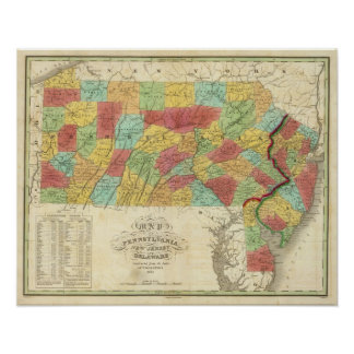 Map Of Pennsylvania New Jersey And Delaware Poster