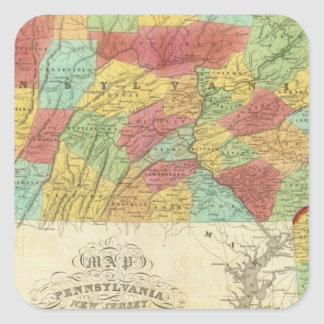 Map Of Pennsylvania New Jersey And Delaware Square Sticker