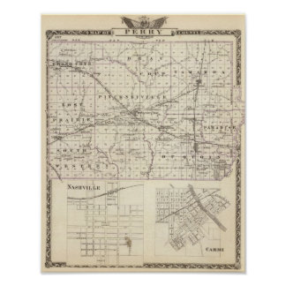 Map of Perry County, Nashville and Carmi Poster