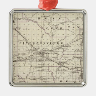 Map of Perry County, Nashville and Carmi Silver-Colored Square Ornament