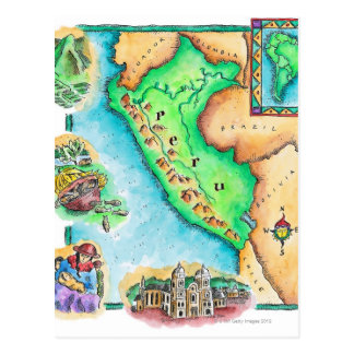 Map of Peru Postcard