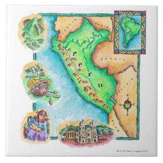 Map of Peru Tile