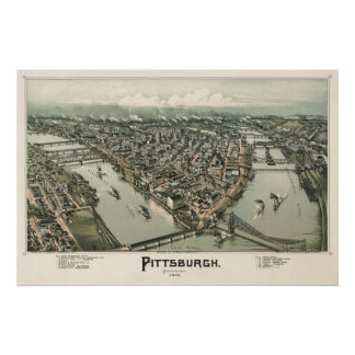Map of Pittsburgh (Fowler) - 1902, BigMapBlog.com Poster