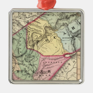 Map of Pocohontas, Greenbrier counties Silver-Colored Square Ornament