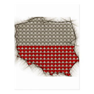 Map of POlands with Polish flag colors Postcard