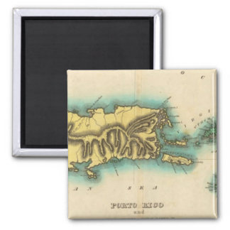 Map Of Porto Rico And The Virgin Islands Square Magnet