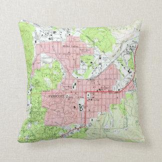 Map of Prescott Arizona (1973) Throw Pillow