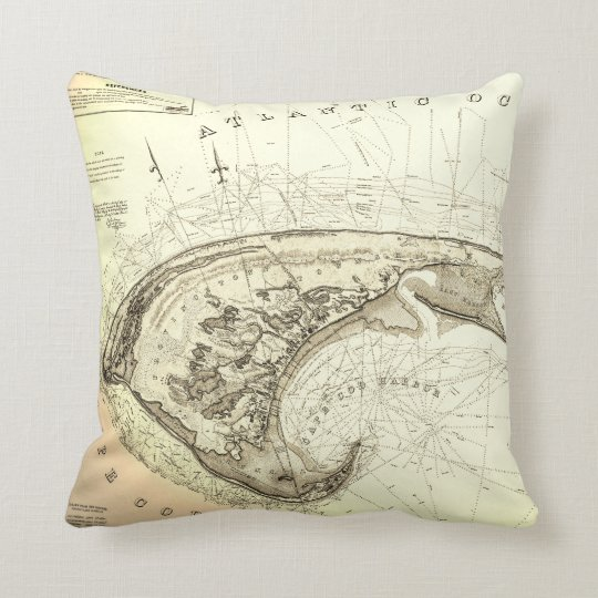 Map of Provincetown in 1830's Truro Throw Pillow
