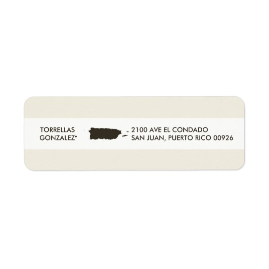 Map of Puerto Rico: Personalized Design Return Address Label