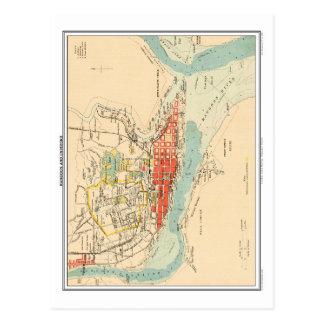 Map of Rangoon & Environs, British India. Postcard