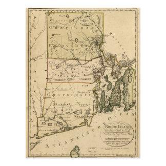 Map of Rhode Island by Carl Ernst Bohn (1797) Postcard