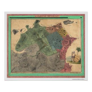Map of Rio de Janeiro by Michellerie 1831 Poster