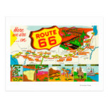 Map of Route 66 from Los Angeles to Chicago Post Card