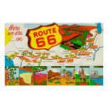 Map of Route 66 from Los Angeles to Chicago Poster