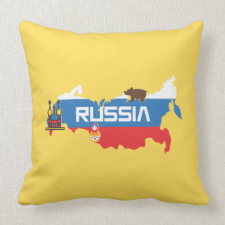 Map of Russia with White Blue and Red Flag within Throw Pillow