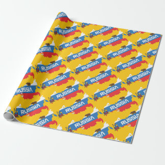 Map of Russia with White Blue and Red Flag within Wrapping Paper