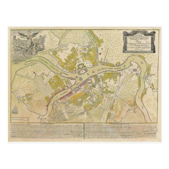 Map of Saint Petersburg Russia made in 1737 Postcard