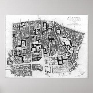Map of Sainte-Genevieve area, Paris, 1756 Poster