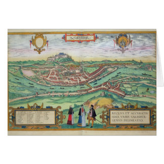 Map of Salzburg, from 'Civitates Orbis Terrarum' b Card