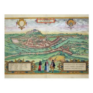 Map of Salzburg, from 'Civitates Orbis Terrarum' b Postcard