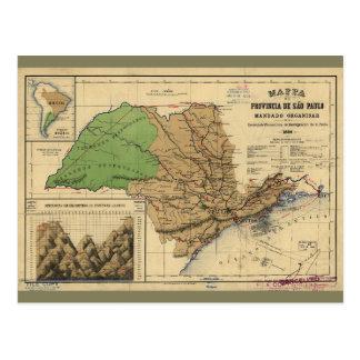 Map of São Paulo, Brazil (1886) Postcard