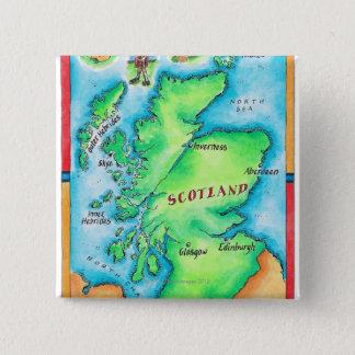 Map of Scotland 2 Inch Square Button