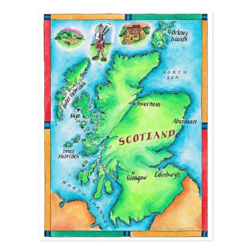 Map of Scotland Postcards