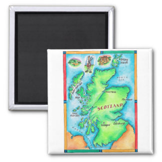 Map of Scotland Square Magnet