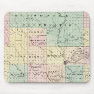 Map of Shawano County, State of Wisconsin Mouse Pad