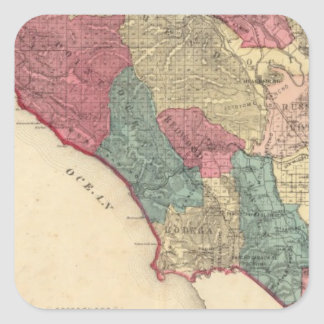 Map of Sonoma County California Square Sticker