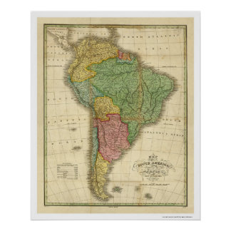 Map of South America by Finley 1826 Poster