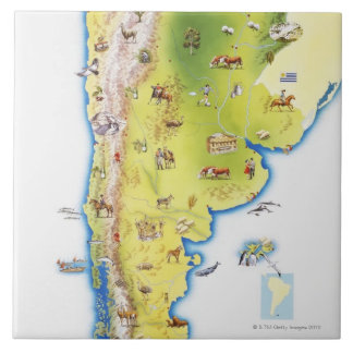 Map of South America Ceramic Tiles