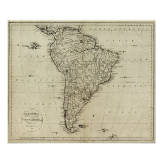 Map of South America Poster
