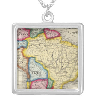 Map Of South America Silver Plated Necklace