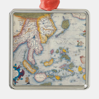 Map of South East Asia 2 Silver-Colored Square Ornament