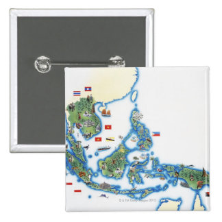 Map of southeastern Asia 2 Inch Square Button