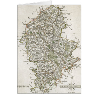 MAP OF STAFFORDSHIRE, 1793 CARD