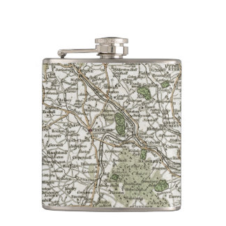 MAP OF STAFFORDSHIRE, 1793 HIP FLASK