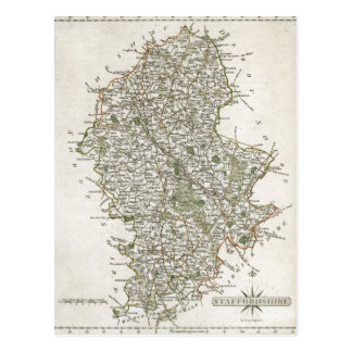 MAP OF STAFFORDSHIRE, 1793 POSTCARD