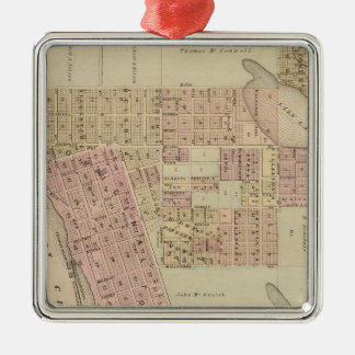 Map of Stillwater, Washington County, Minnesota Silver-Colored Square Ornament