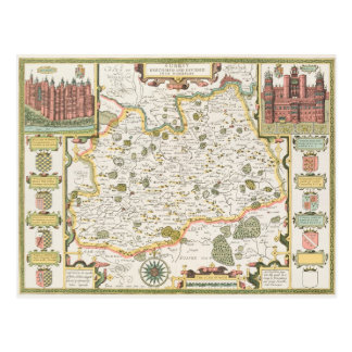 Map of Surrey, engraved by Jodocus Hondius Postcard