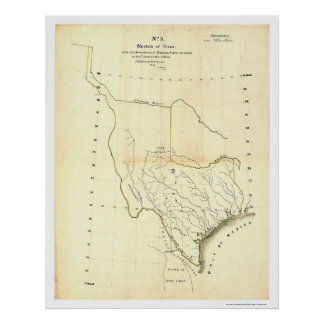 Map of Texas & Mexican States by Tanner 1839 Poster