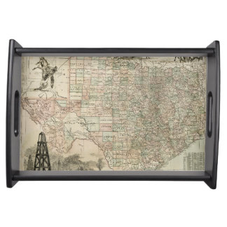 Map of Texas with County Borders Serving Tray