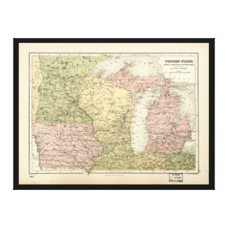 Map of the American MidWest (1873) Canvas Print
