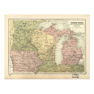 Map of the American MidWest (1873) Postcard
