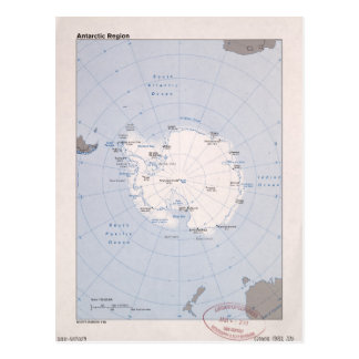 Map of the Antarctic Region (1982) Postcard