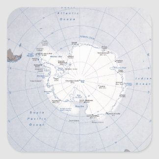 Map of the Antarctic Region (1982) Square Sticker