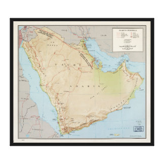 Map of the Arabian Peninsula (1969) Canvas Print